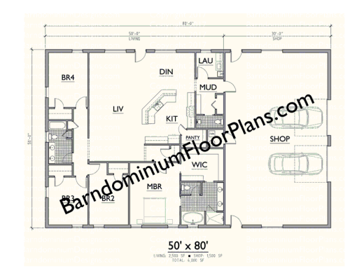 Gallery Barndominium Plan 50x80 4bd 2 5ba Level 1 Barndominium Plans Barndominium Shop House Plans