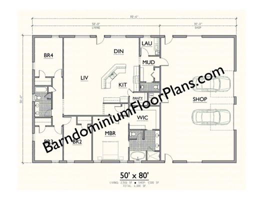Gallery-Barndominium-Plan-50x80 4BD-2-5BA Level 1 in 2020