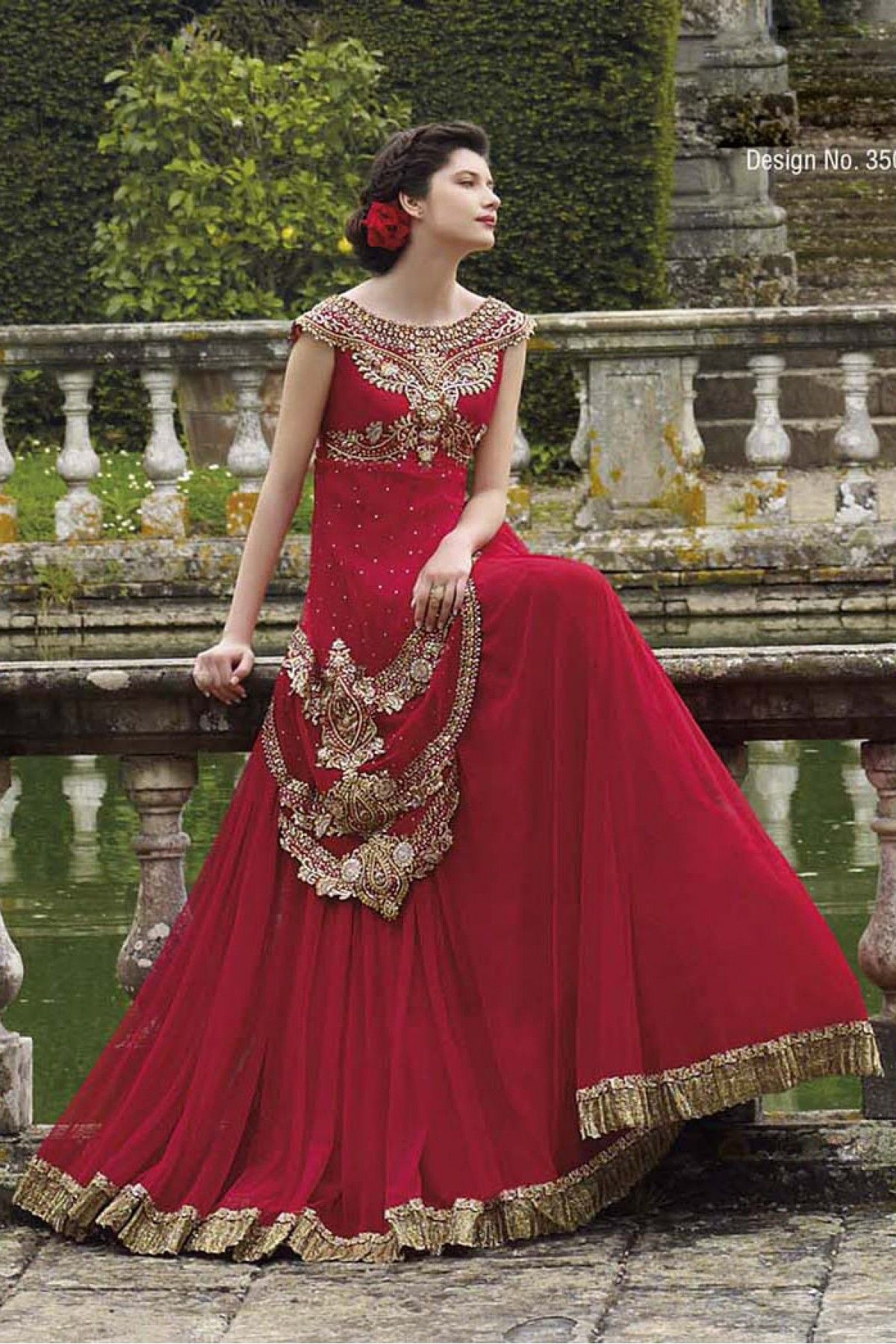 Georgette Semi Stitched Designer Gown In Maroon Colour Fancy