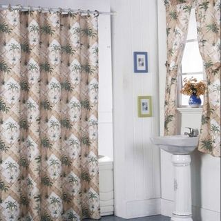 California Palm Shower Curtain Set And 4 Piece Window Set Pw190