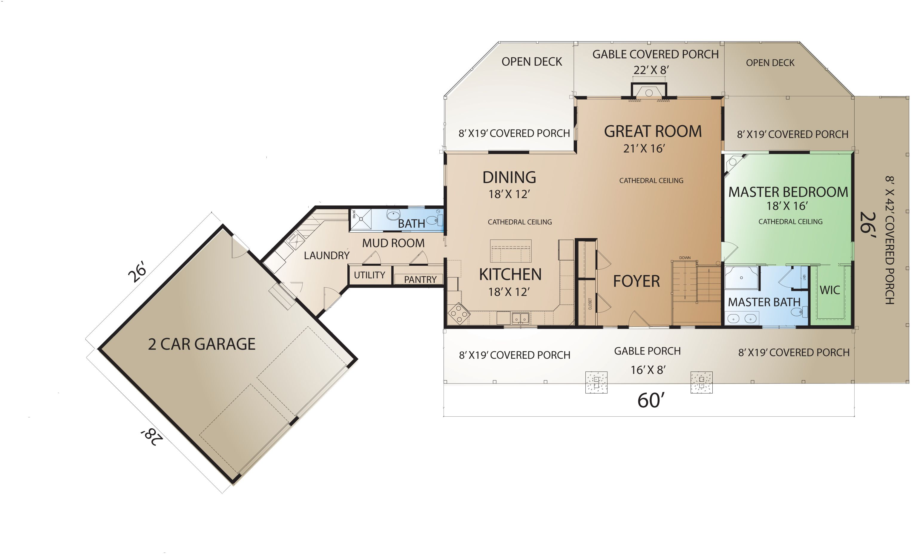 Floor plans attached garage countrymark prairieranch fp for House plans with garage attached by breezeway