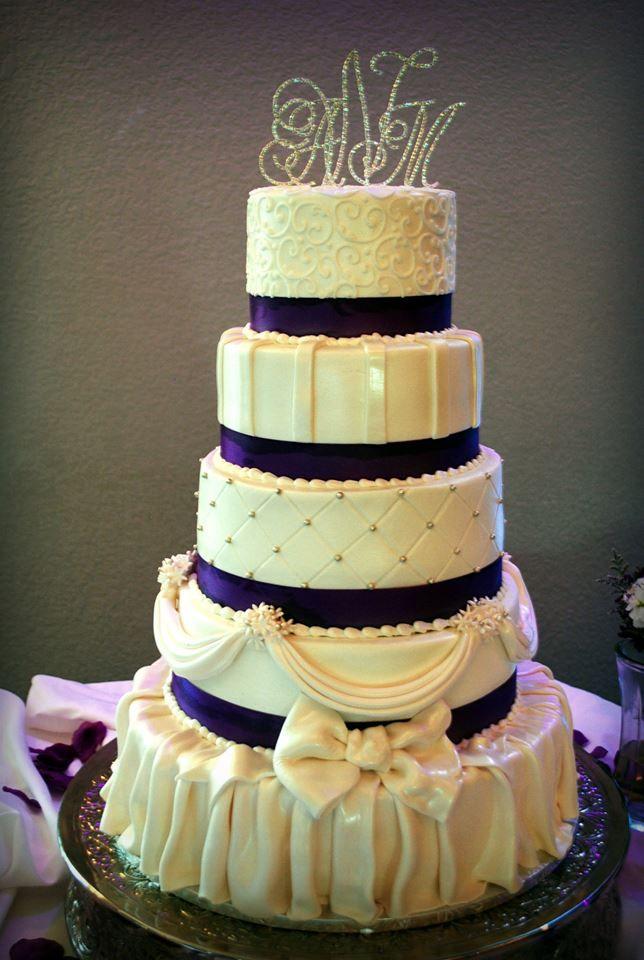 Bling, bling, bling, #purple and white #wedding cake with #fondant ...
