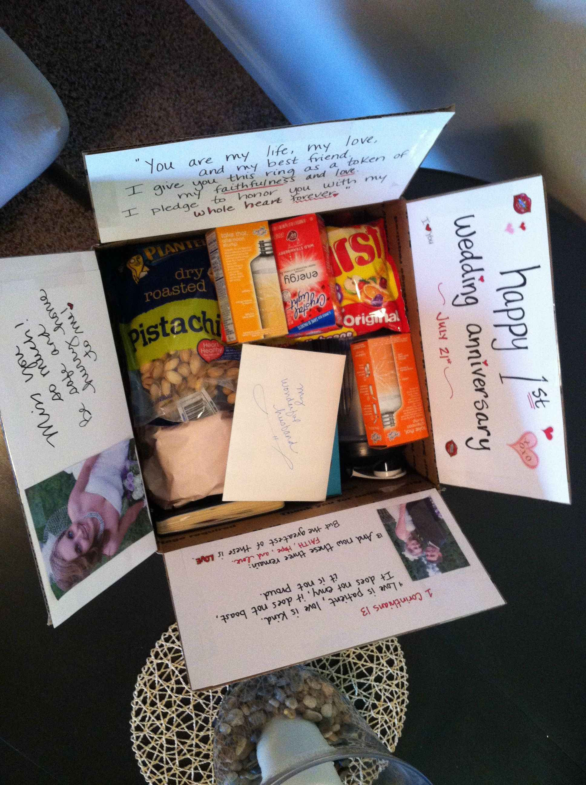 0c47fdc981d5 1st anniversary care package that I mailed to my hubby!