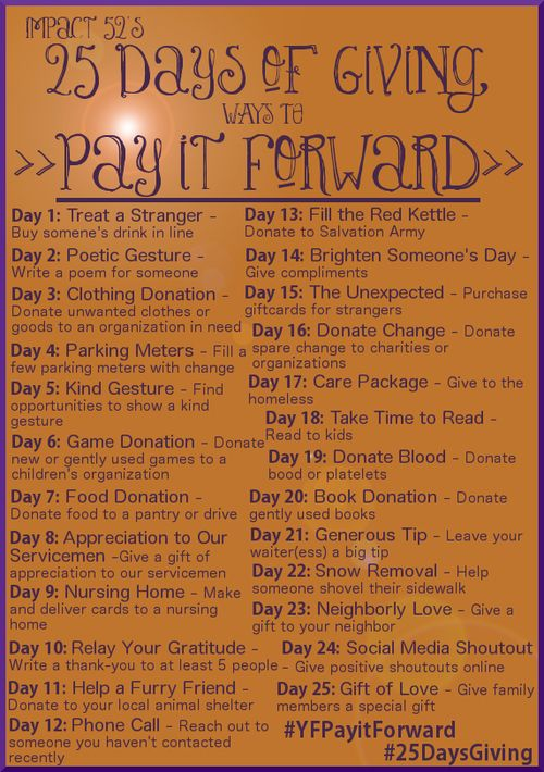 pay it forward 25 days of giving next xmas 25 days of christmas kindness matters serving. Black Bedroom Furniture Sets. Home Design Ideas