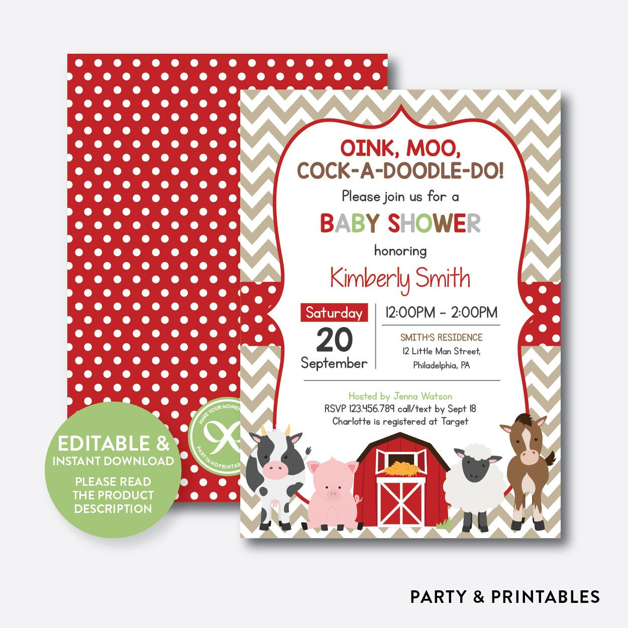 Red Farm Baby Shower Invitation / Editable / Instant Download (SBS ...