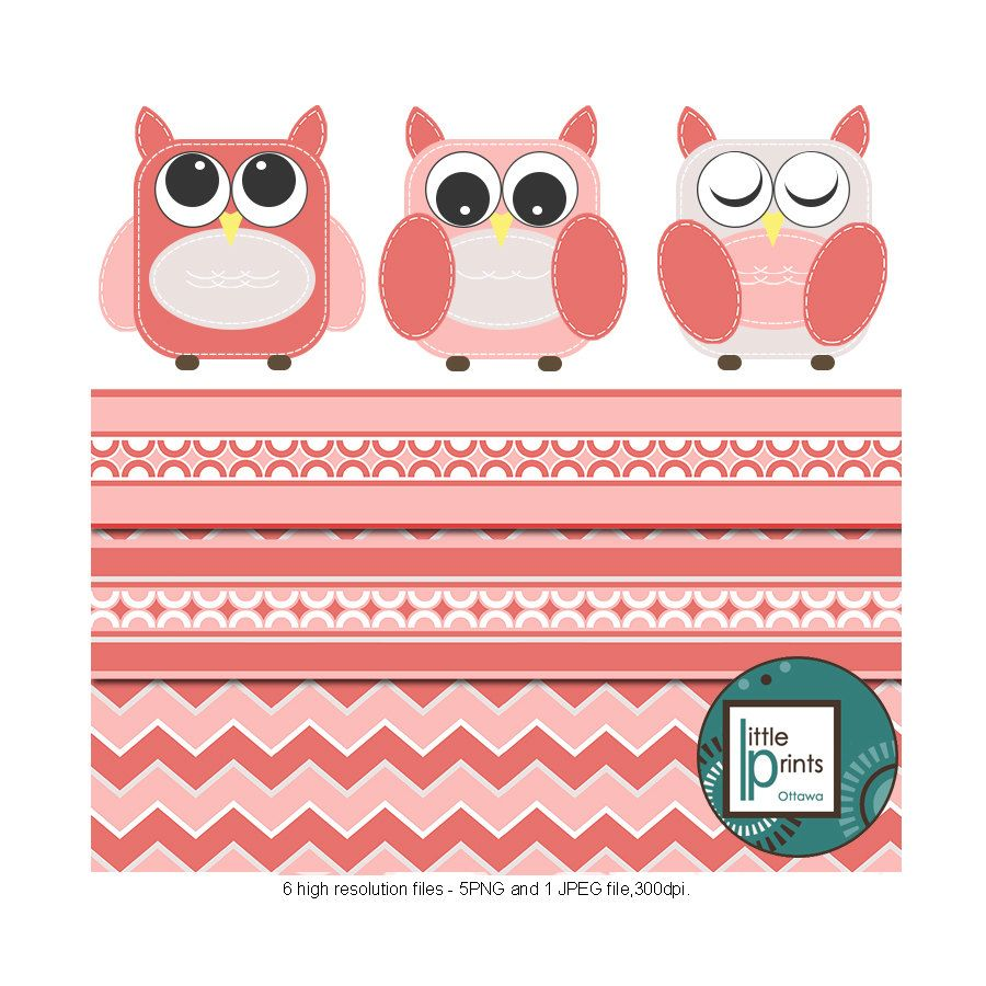 Owl Clipart Set - Pink and Grey Owls Clip art, Digital ...