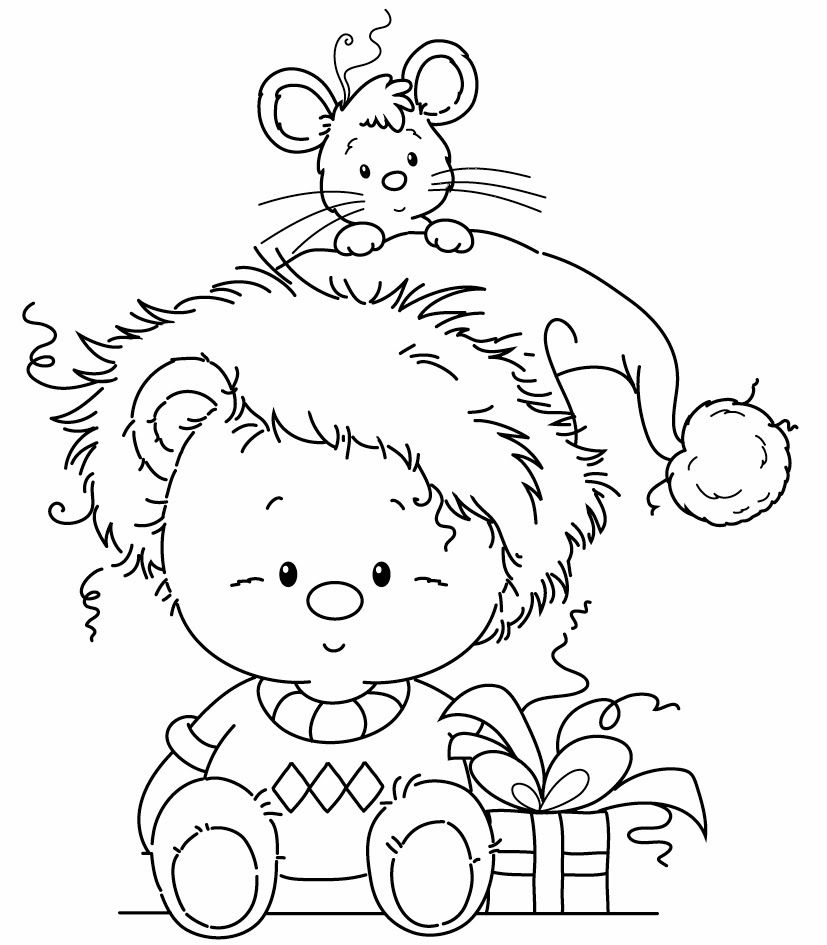 Christmas Bear and mouse with present (sweater, hat, outline, coloring, black and white) | Wee Stamps Freebie