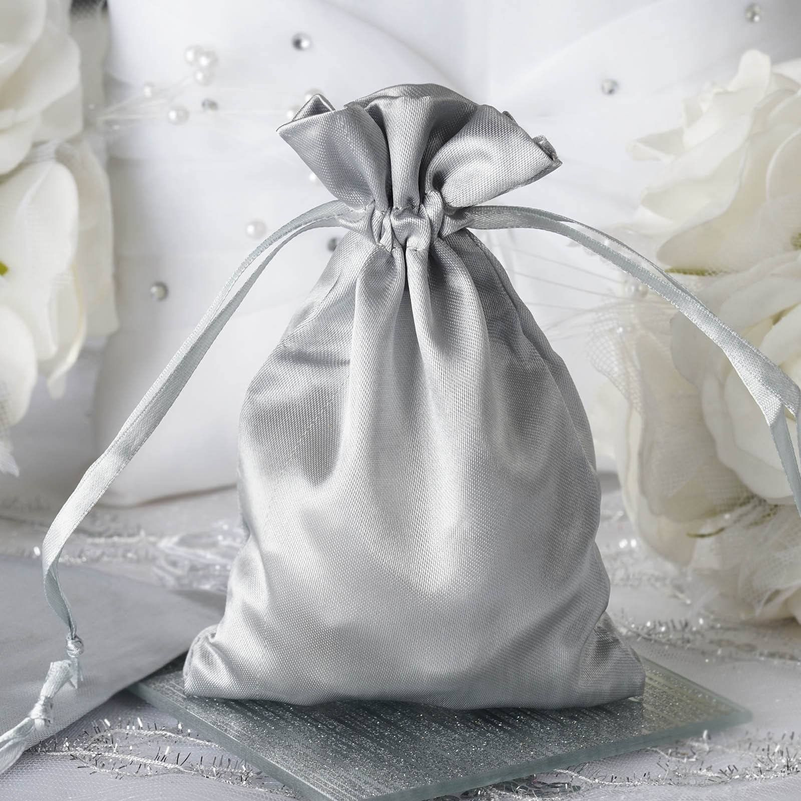 4x6 Satin Drawstring Bags Silver 12 Pack Satin And Products