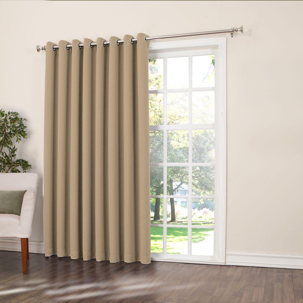 Sun Zero Semi Opaque Taupe Gregory Room Darkening Grommet Top Patio Panel 100 In W X 84 In L Brown In 2020 Patio Doors Cool Curtains Best Sliding Glass Doors