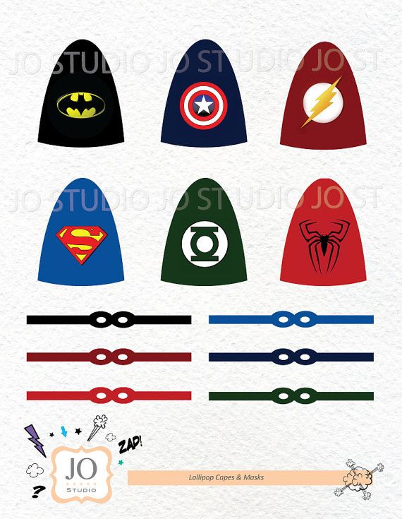 Superhero Lollipop Capes and Masks / Batman / Spiderman / Superman