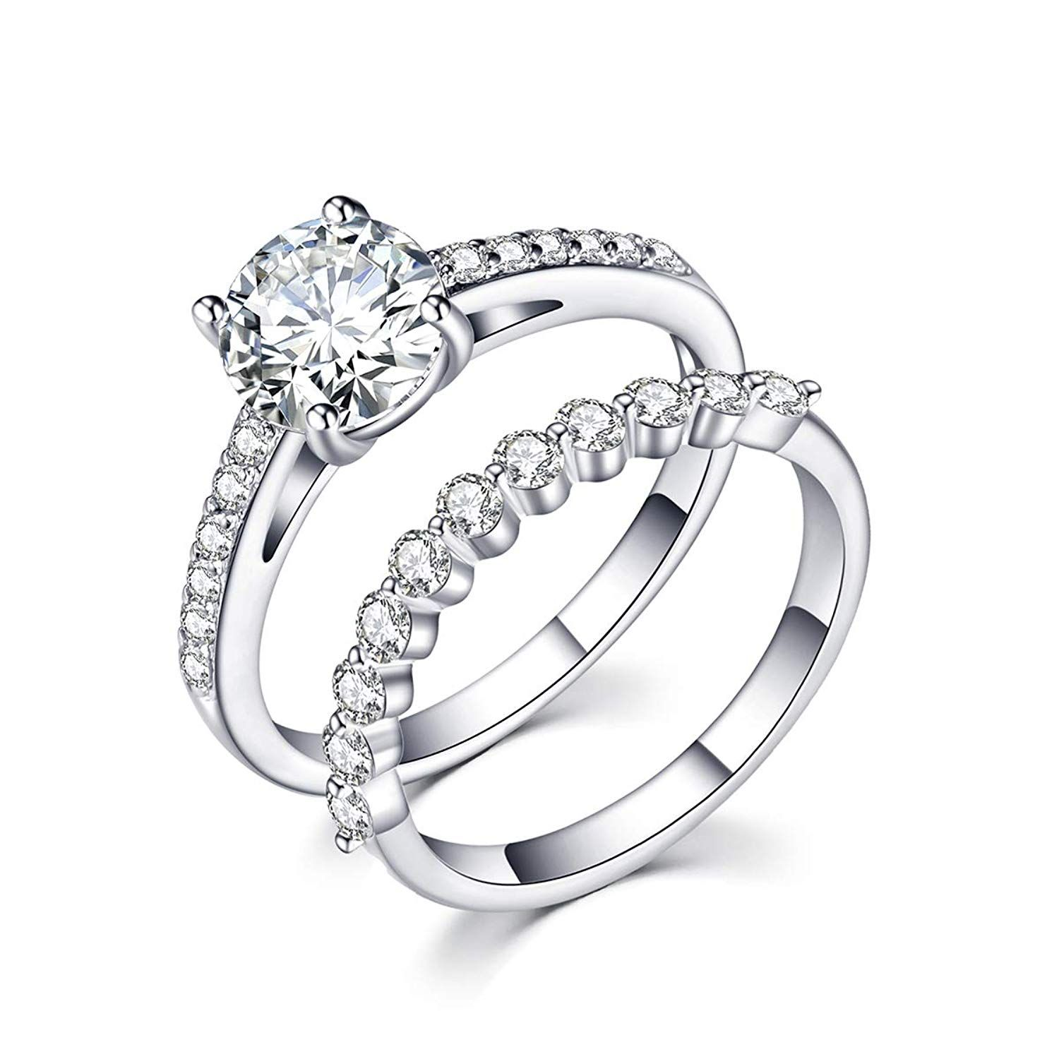 Rongji Jewelry Cz Engagement Rings Gem Grade Cubic Zirconia Platinum Plated Stacking Ring For W Cz Rings Engagement Wedding Ring Bands Sparkling Diamond Ring