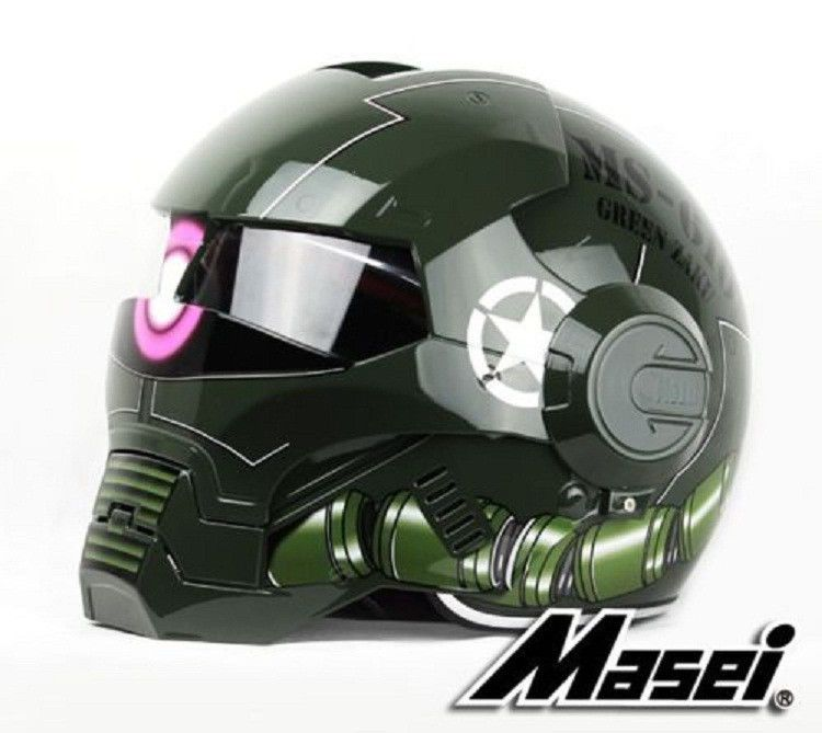 Masei 610 Military Green Zaku Motorcycle HJC OGK Chopper Bike Helmet E106 #MaseiHelmet