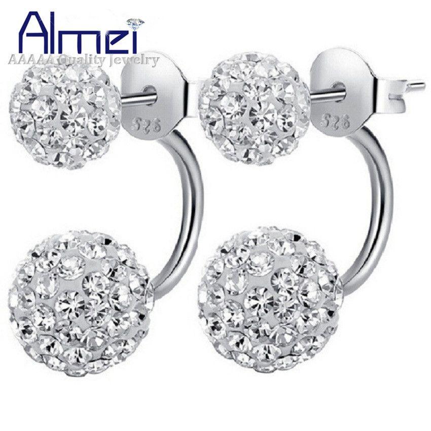 Fashion Women Silver Plated Flower Crystal Rhinestone Stud Hoop Earrings Jewelry