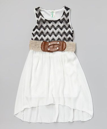 ab9894f49702 Loving this White Zigzag Belted Dress - Girls on  zulily ...