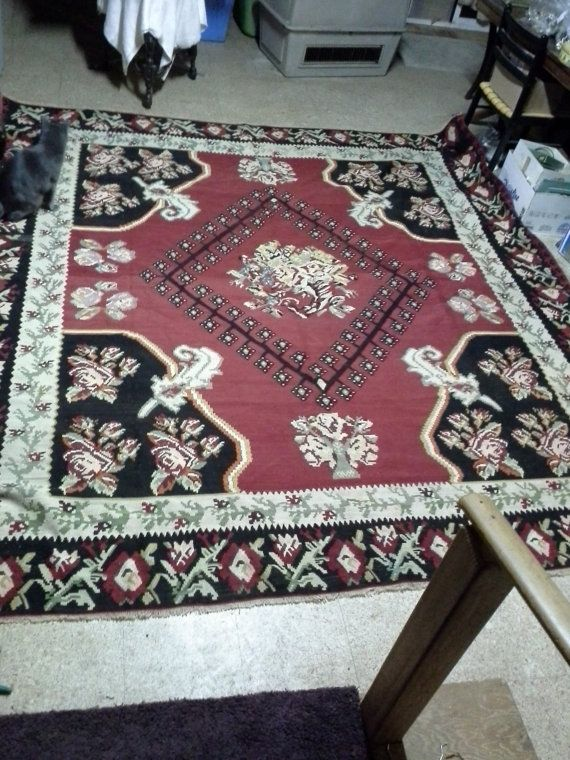 """Vintage Gocmen Killim wool rug 111"""" x 116"""" in excellent shape, approximately 60 years old, Fabulous!"""