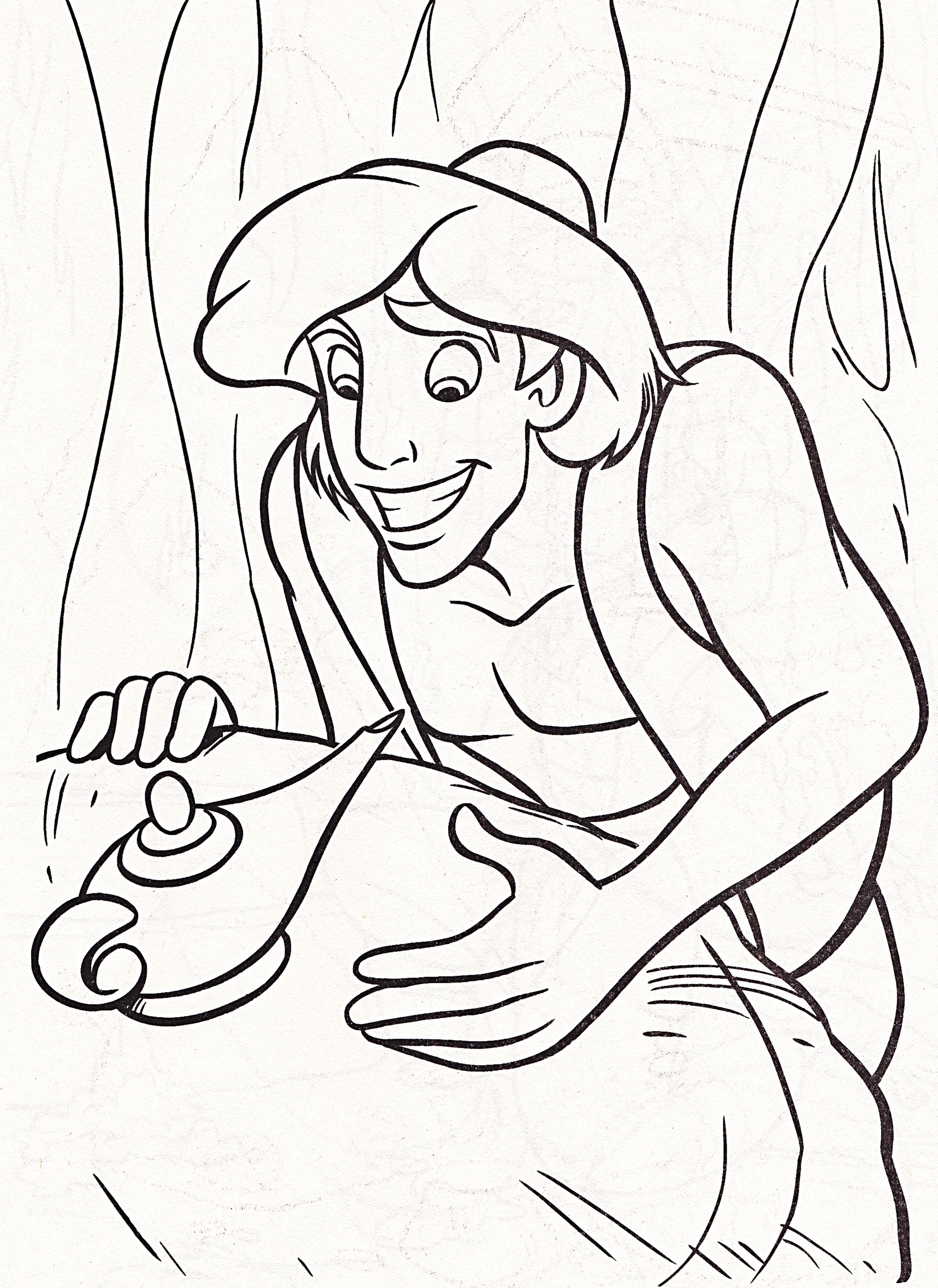Walt Disney Coloring Pages - Prince Aladdin  Dessin jasmine