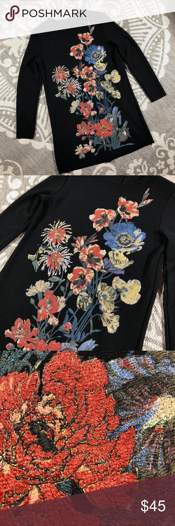 Zara Black Floral Long Sleeve Shift Dress Long Sleeve Embroidered Dress Women Long Sleeve Dress Long Sleeve Shift Dress [ 1740 x 580 Pixel ]