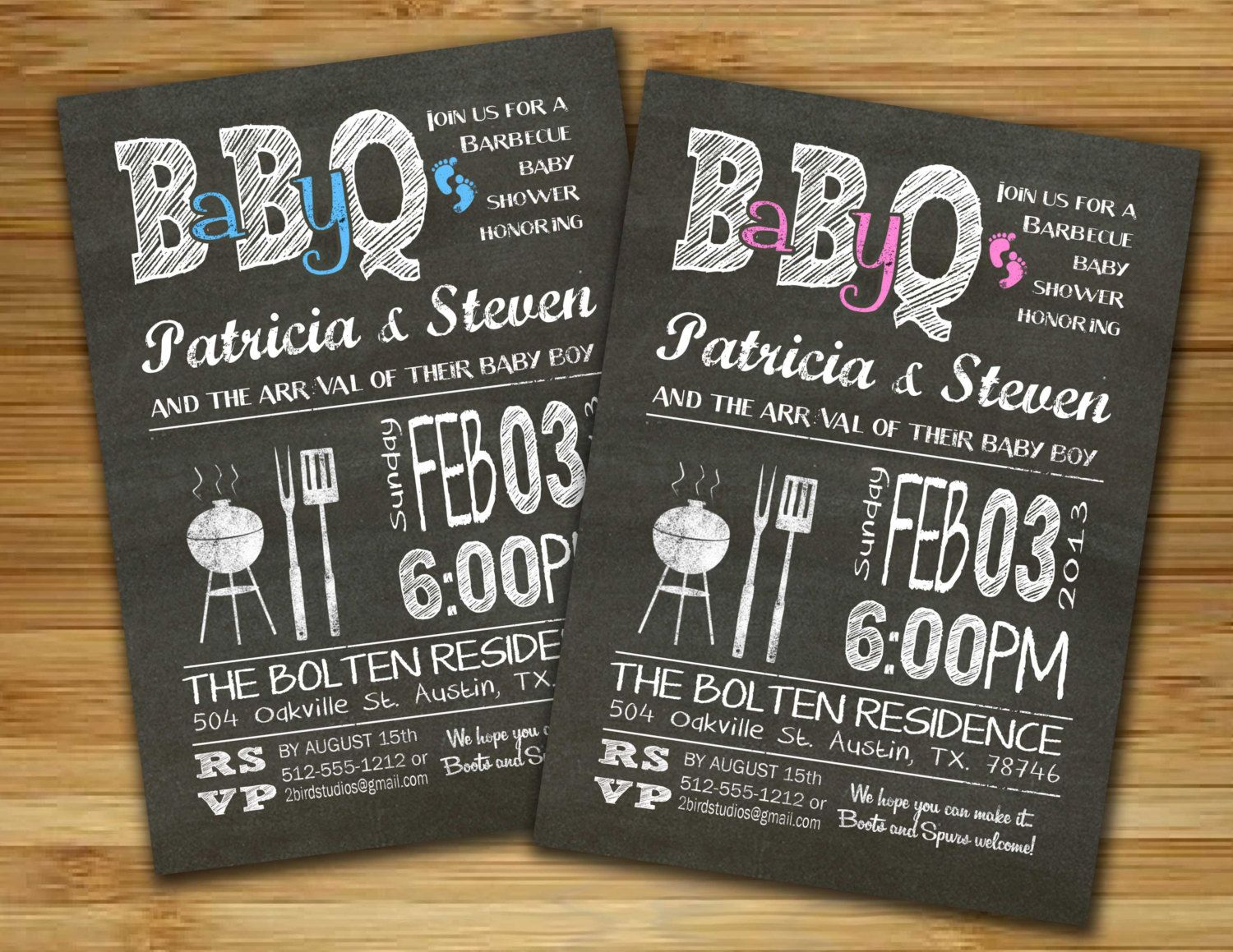 Baby shower invitation boy girl baby shower BBQ barbecue invite