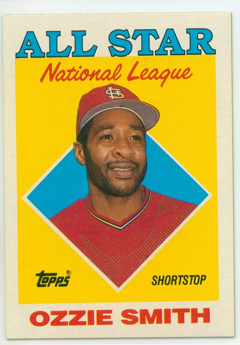 Ozzie Smith 1988 Topps All Star 30 Year Old Cardboard Baseball Cards Baseball Baseball Card Values