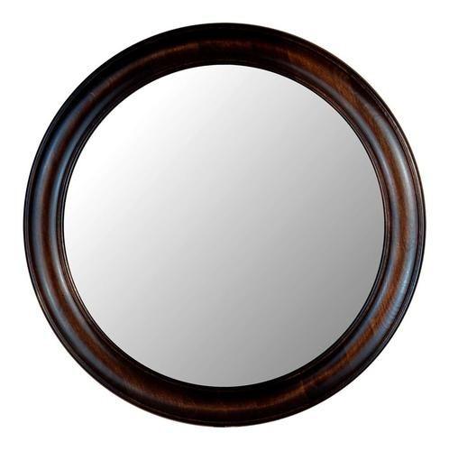decorative round wall mirror with dark walnut wood frame 770 serie