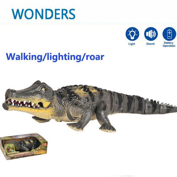 Tamaño de cocodrilo caminar robot Con Luz y Sonido juguete eléctrico grande modelo de simulación Figura de Acción juguetes para niños