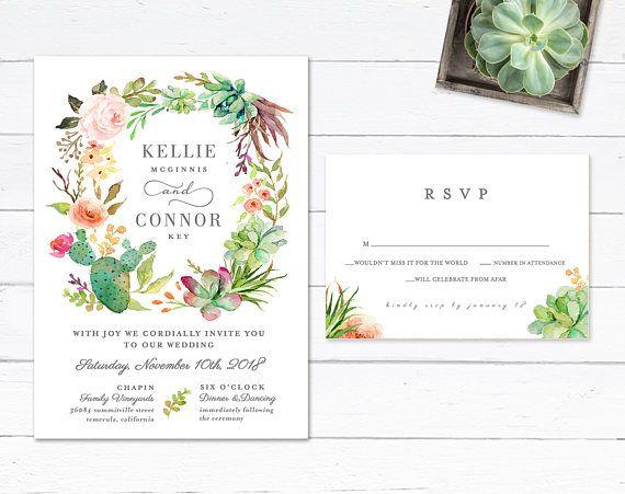 Desert Wedding Invitation, Succulent Wedding Invitation, Cactus