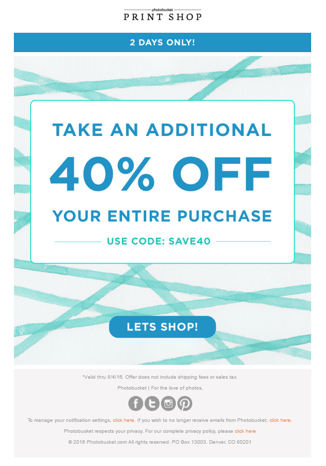 40 Off Coupon Email From Photobucket Emailmarketing Email Marketing Coupon Discount Code Photography Pho Coupon Code Email Print Your Photos Marketing