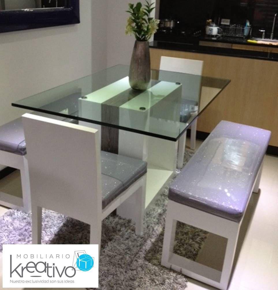 Comedor itaka con bancas laterales muebles by mobiliario for Comedores modernos con banca