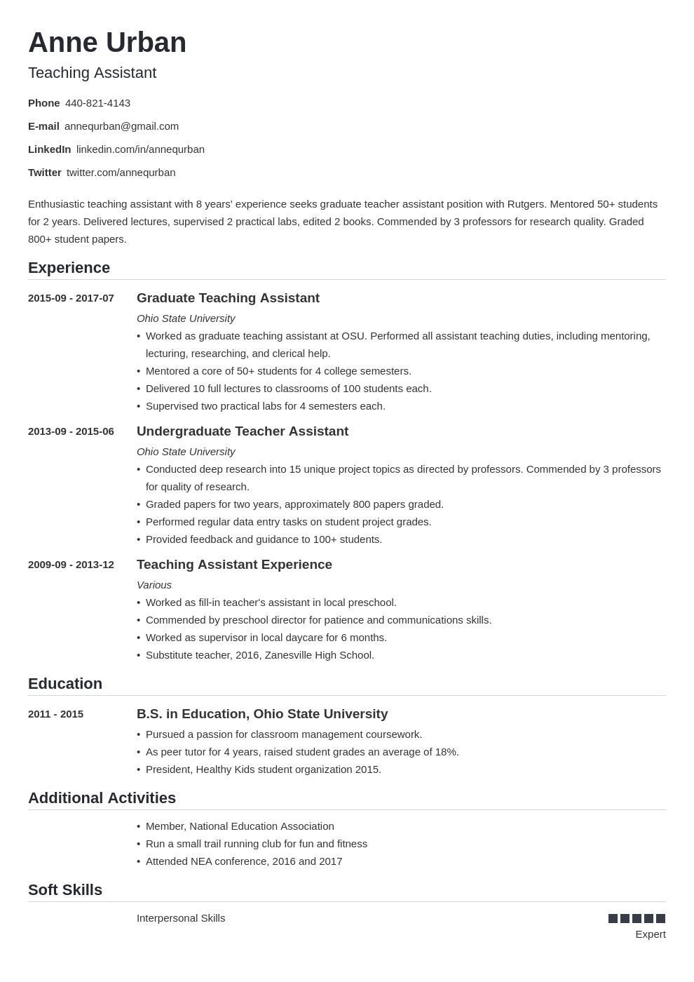 Teaching Assistant Resume Example Template Nanica Job Resume Examples Resume Examples Graduating Teacher