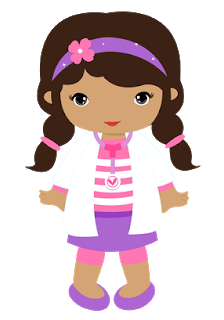 Little Girls Desguised as Doc McStuffins and Playing Clipart.