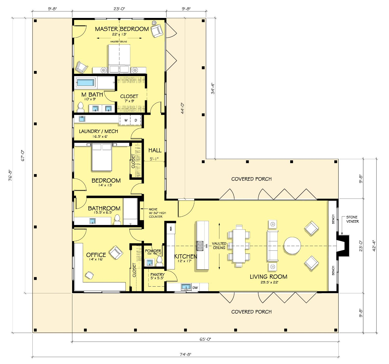 casa tipo l de dos dormitorios planos de casas minimalistas planos de