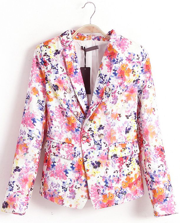 Pink Notch Lapel Long Sleeve Floral Blazer EUR€24.67
