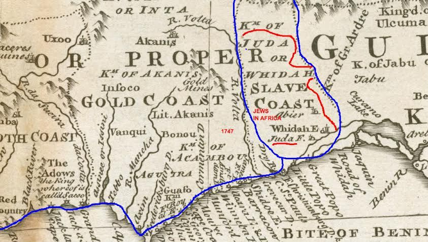 Ancient map from 1747 showing the tribe of Judah on West Coast of - copy world map africa continent