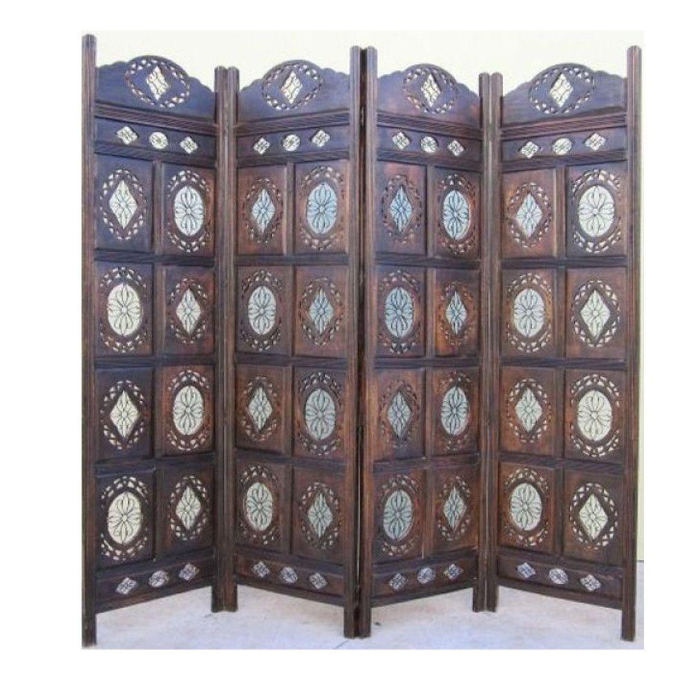 71 X 80 Kashmiri 4 Panel Wooden Screen Room Divider