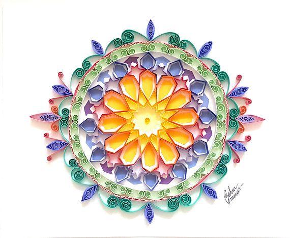Shams original quilling art paper mandala trendy handmade  rainbow anniversary home decor speci also rh pinterest