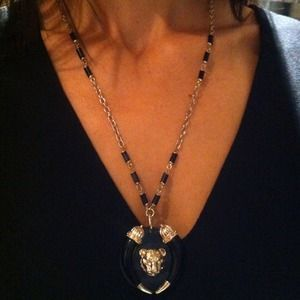 I just discovered this while shopping on Poshmark: Custom lion necklace. Color: black/gold. Check it out!  Size: OS