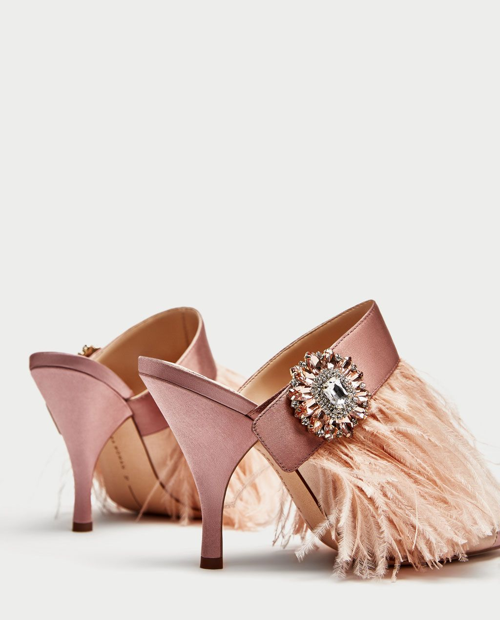 e550f0a2459 HIGH HEEL MULES WITH FEATHER AND BROOCH DETAIL-Heeled Sandals-SHOES-WOMAN