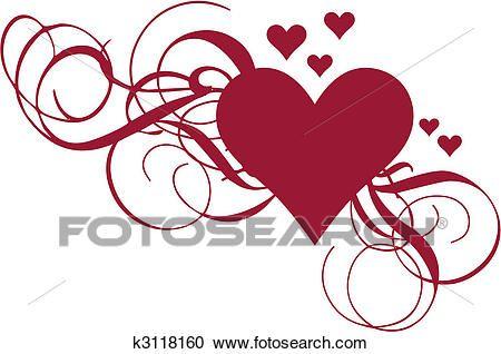Heart with swirls, vector Clipart | Heart clip art, Red ...