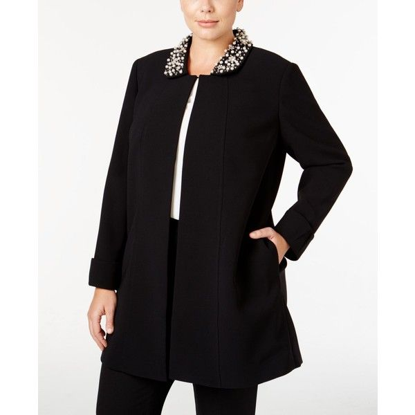 2ffe0a5bbc3 Tahari Asl Plus Size Embellished Long Blazer ( 159) ❤ liked on Polyvore  featuring outerwear