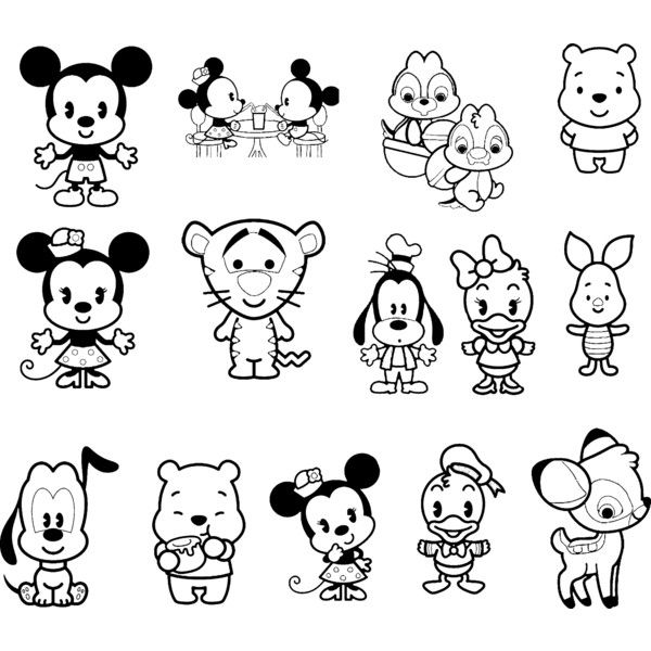 Pin By Ruth Morales On Kawaii Cute Coloring Pages Baby Disney Characters Disney Cuties