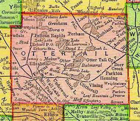 Otter Tail County Minnesota Road Map Telephone Minnesota State