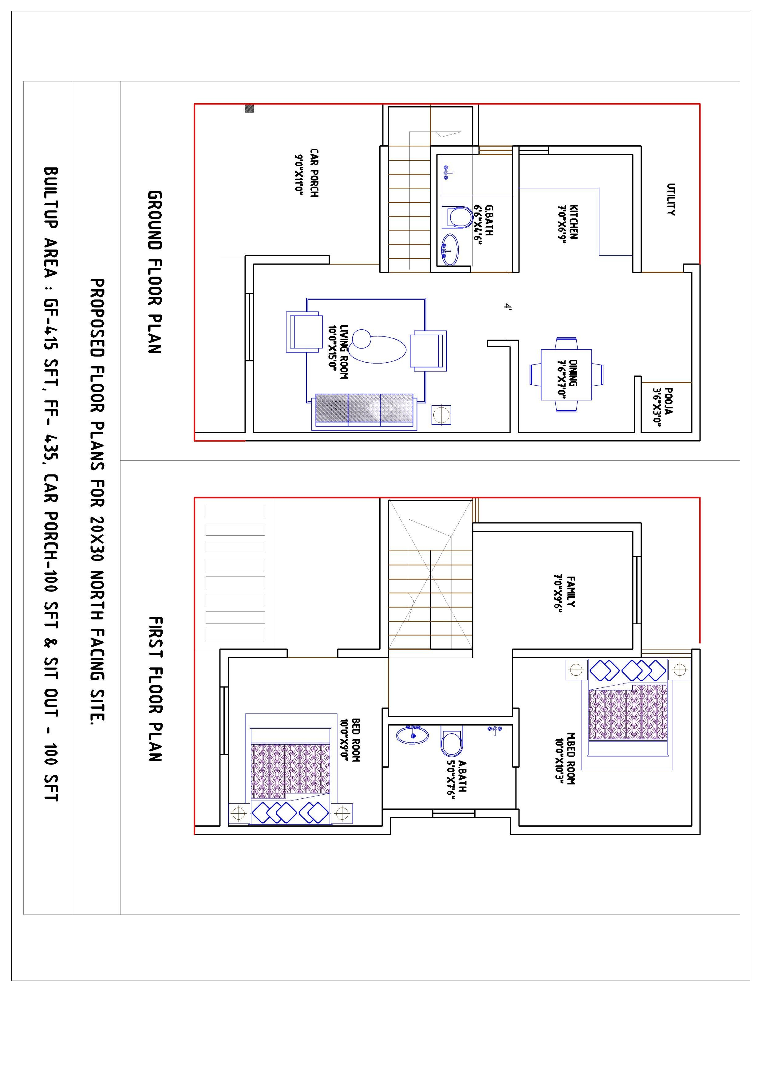 20x30 North Facing House Plan Design