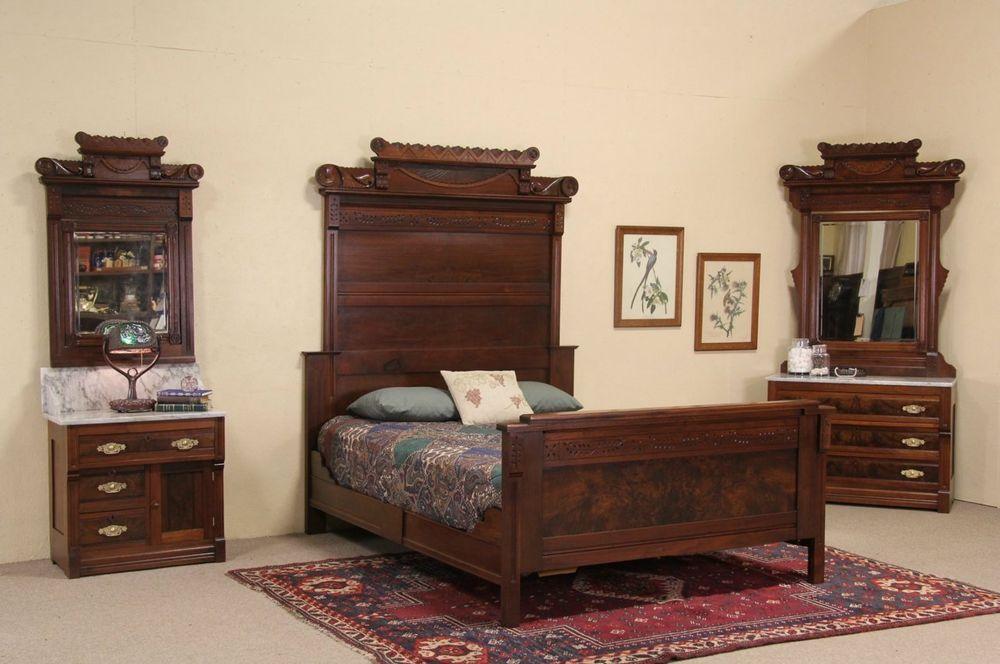 Best Victorian Eastlake 1885 Antique Queen Size Bedroom Set 400 x 300