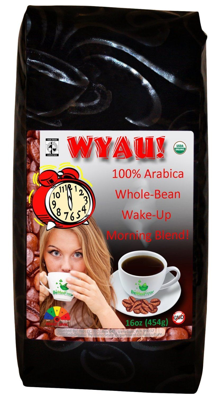 WYAU! Fair Trade USDA Organic Whole Bean Coffee 100