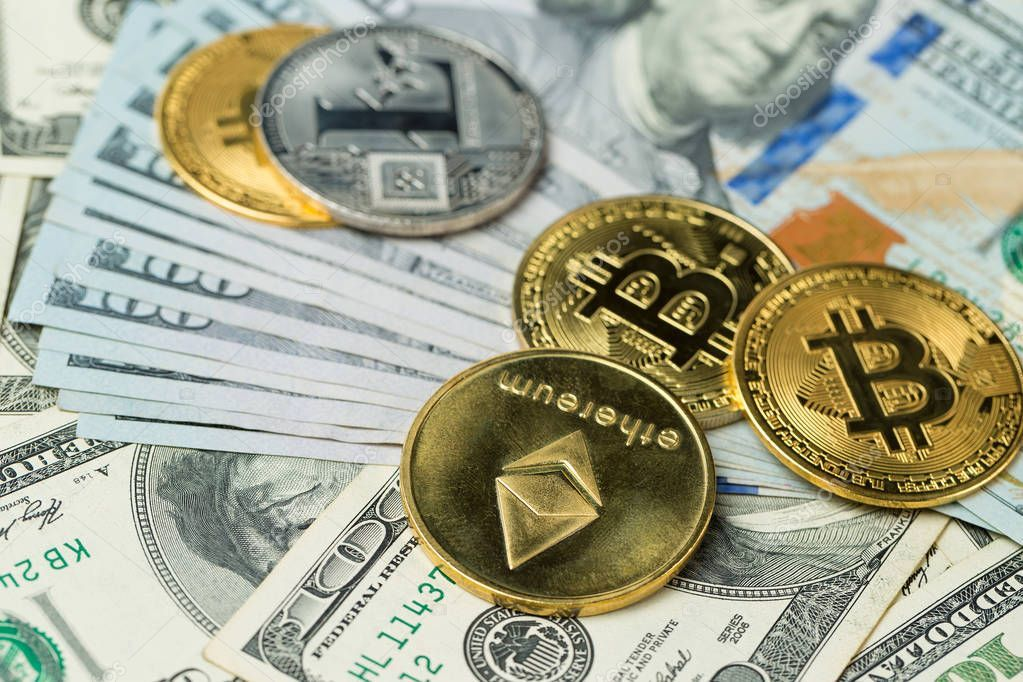 Cryptocurrency Golden Coins Bitcoin