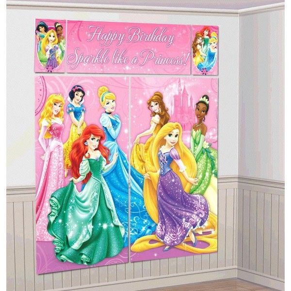 6 DISNEY PRINCESS PARTY SCENE SETTER WALL DECORATIONS KIT Happy