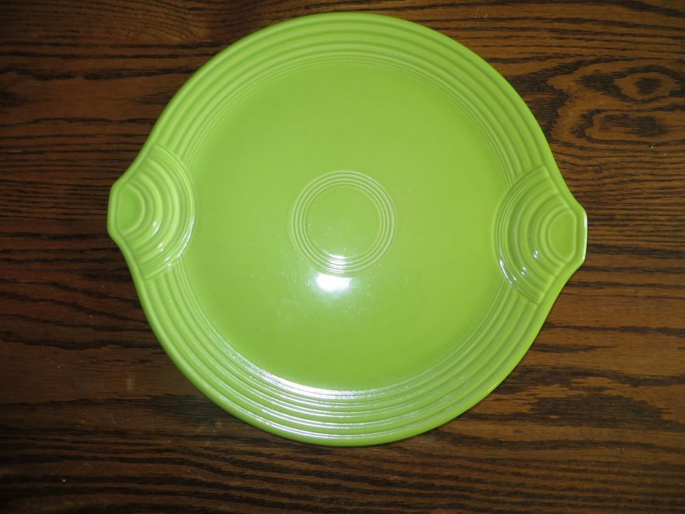 FIESTA CAKE Plate Platter 12\  Chartreuse Green Need one of these! & Homer Laughlin FIESTA CAKE Plate Platter 12\