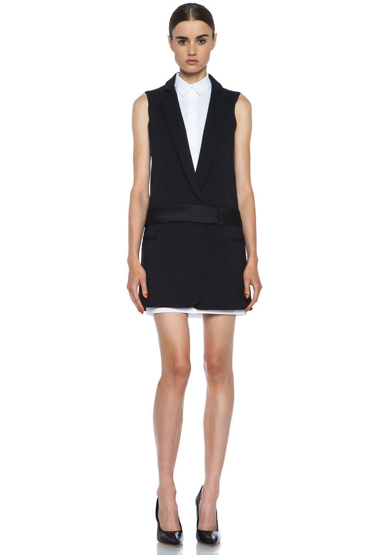 Victoria Beckham Black White Tuxedo Dress Victoria Beckham Outfits Cotton Blends Dress Tux Dress [ 1440 x 953 Pixel ]