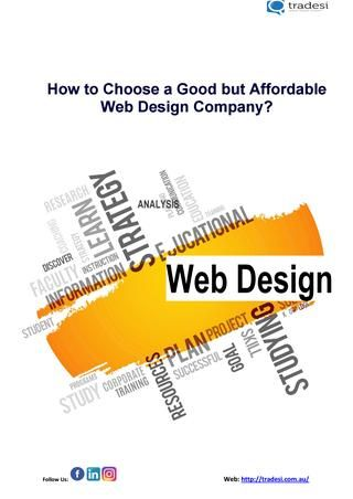 How To Choose A Good But Affordable Web Design Company Pdf Affordable Web Design Web Design Company Web Design
