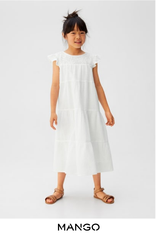 MANGO KIDS – female – Vestido textura bordados blanco roto MANGO KIDS – Blanco roto – 6